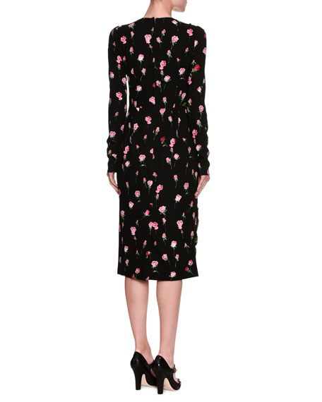 Long-Sleeve Rose-Embroidered Charmeuse Sheath Dress, Black