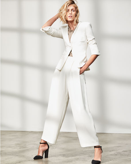 Classic Two-Piece Evening Pantsuit, White