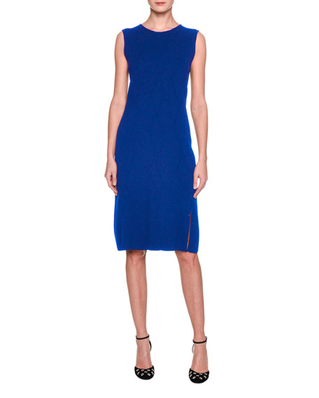 Sleeveless Virgin Wool Sheath Dress, Cobalt
