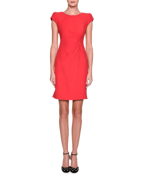 Long cap sleeve jersey dress with side ruching