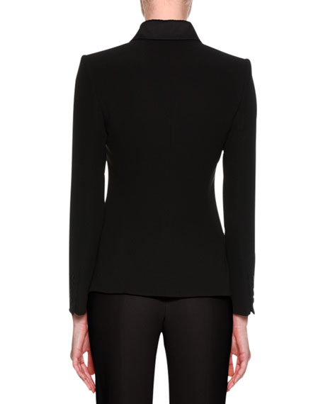 Satin-Collar Tuxedo Jacket, Black