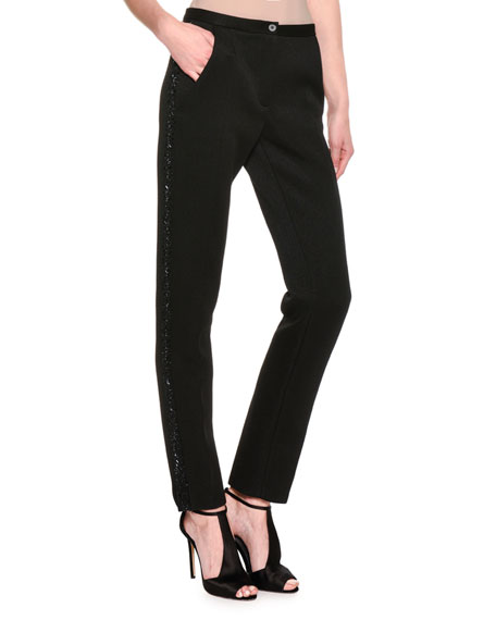Giorgio Armani Embellished Slim-Straight Pants, Black