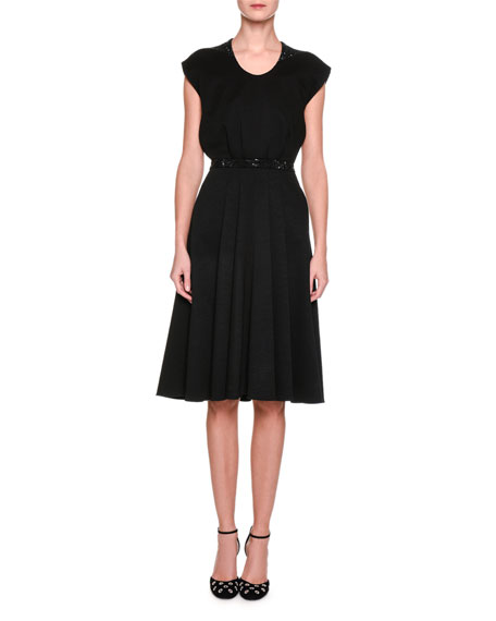 Cap-Sleeve Jersey Dress with Crystal Trim