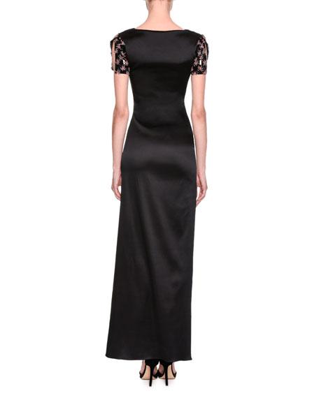 Embellished-Sleeve Satin Column Gown, Black