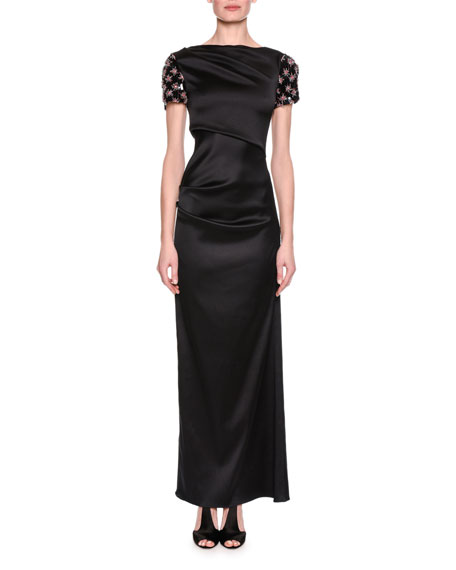 Giorgio Armani Embellished-Sleeve Satin Column Gown, Black
