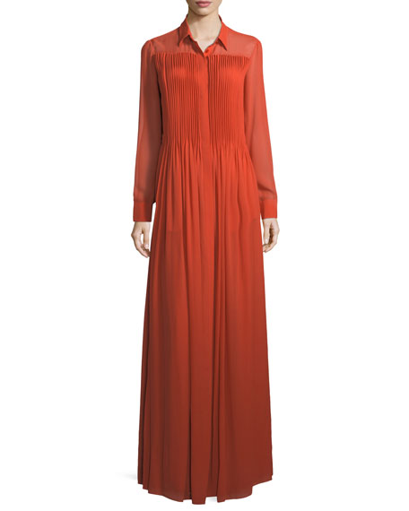 Giorgio Armani Long-Sleeve Sheer Georgette Maxi Dress