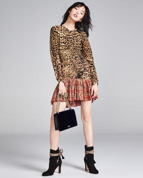 Leopard & Paisley Ruched Long-Sleeve Minidress, Ivory