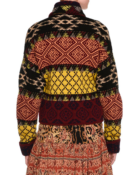Mixed-Print Belted Wrap-Front Jacket, Green