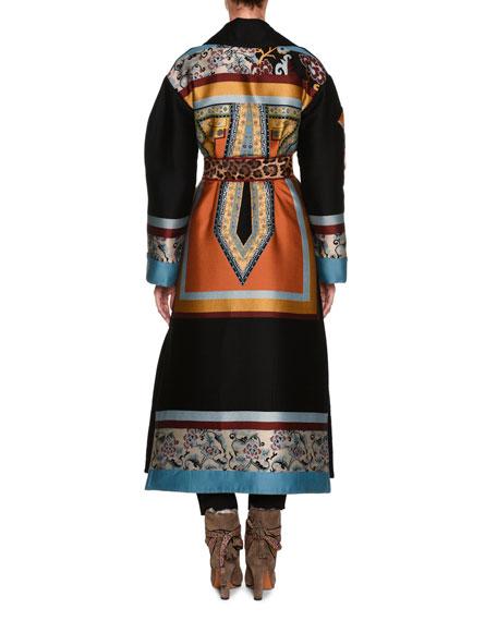 Mixed-Print Full-Length Coat, Black