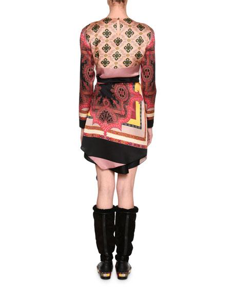 Mixed-Print Long-Sleeve Silk Minidress, Purple