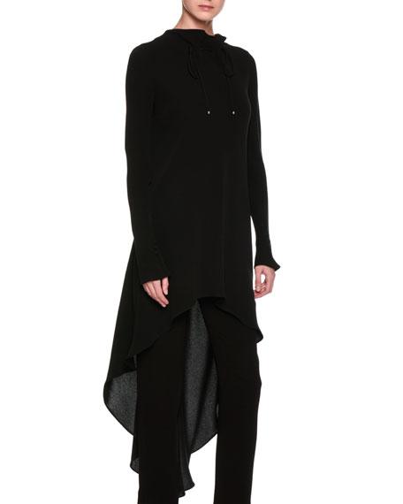 Giorgio Armani High-Low Ruched Funnel-Neck Silk Tunic, Black