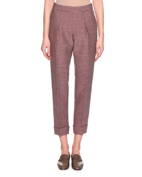 Houndstooth Cropped Pant, Red