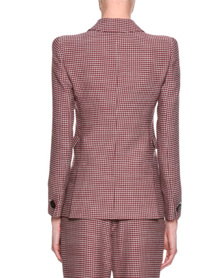 Houndstooth Double-Breasted Novelty Jacket, Red
