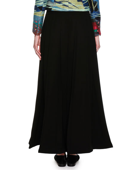 Box-Pleated Wide-Leg Fashion Pants, Black
