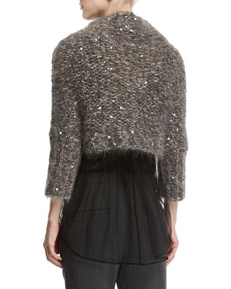 Paillette-Embellished Cropped Mock-Neck Pullover, Gray/Pink