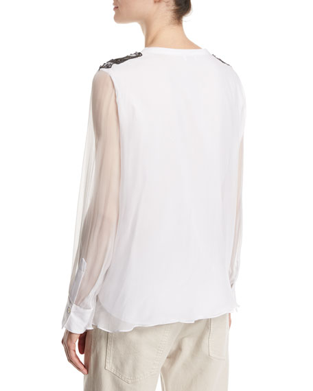 Long-Sleeve Silk Organza Henley with Monili & Swarovski® Details, White