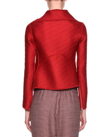 Jacquard Asymmetric-Zip Jacket, Red