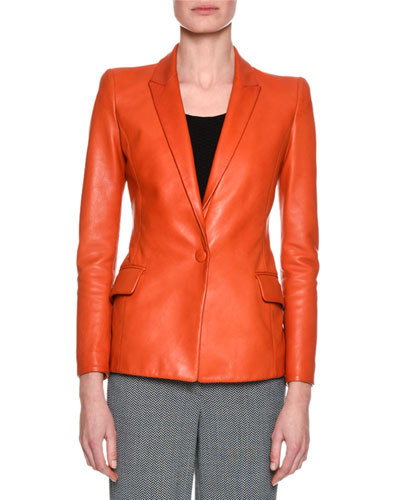 Classic Leather One-Button Blazer, Orange