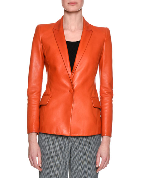 Classic Leather One-Button Blazer, Orange