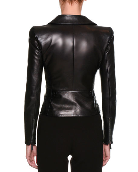 Lamb Leather Moto Jacket, Black