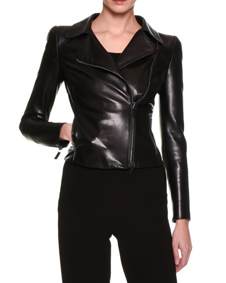 Giorgio Armani Cropped Straight-Leg Ankle-Zip Pants, Black and