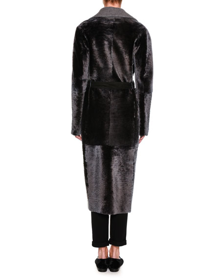 Belted Shearling Duster Coat, Charcoal Gray