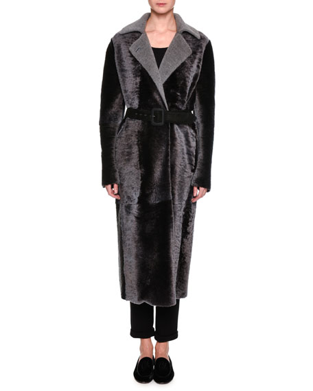 Giorgio Armani Belted Shearling Duster Coat, Charcoal Gray