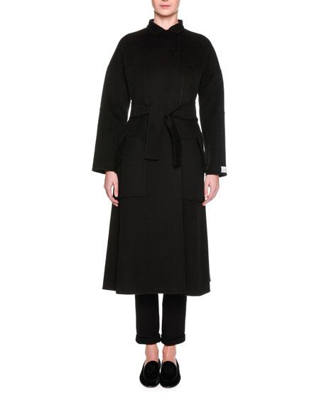 Dolman-Sleeve Belted Cashmere Coat, Black