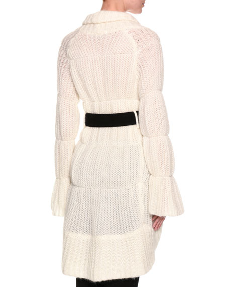 Long Belted Wrap Sweater, White
