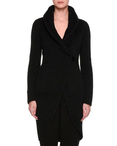 Dramatic Knit Sweater Coat, Black