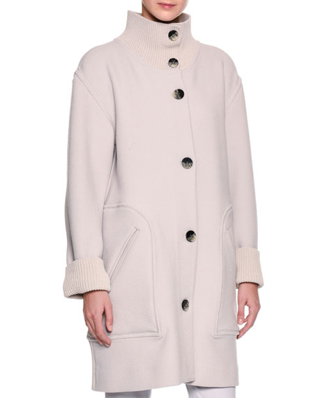 Giorgio Armani 3/4-Length Single-Breasted Knit Coat, Gray