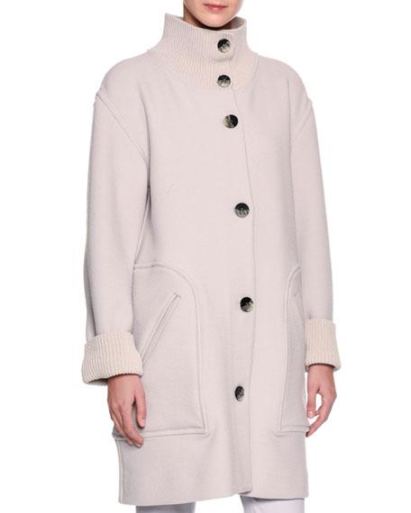 3/4-Length Single-Breasted Knit Coat, Gray
