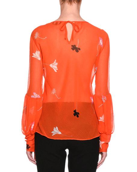 Sheer Floral-Print Silk Top, Orange