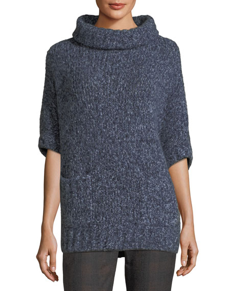 Paillette-Embellished Batwing Tunic Sweater, Blue