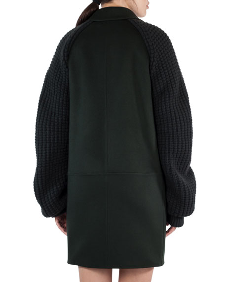 Marais Textured-Sleeve Double-Face Coat, Shadow (Green)