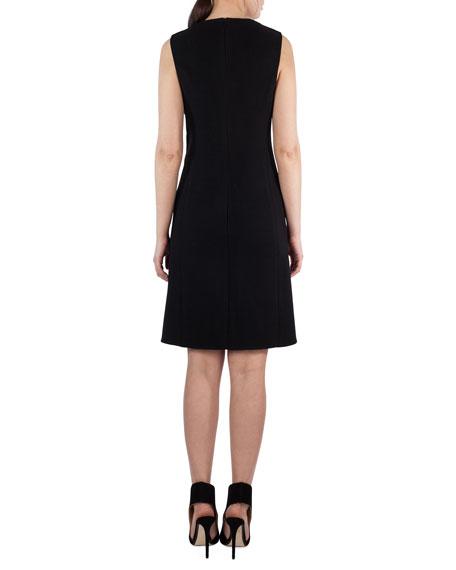 Sleeveless Textured Wool & Leather Sheath Dress, Black
