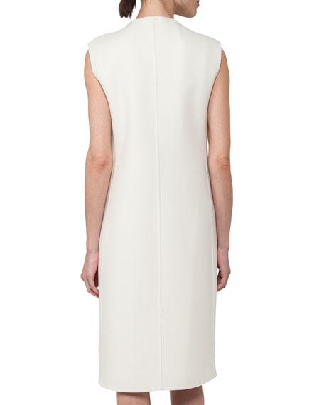 Sleeveless Double-Face Wool Shift Dress, Crema
