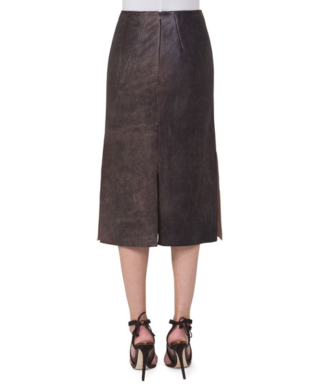 Antique Leather A-Line Skirt, Sepia
