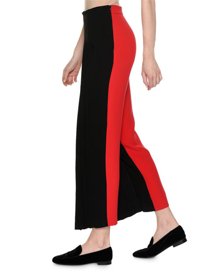 Pleated Pants with Contrast Stripe, Black/Red