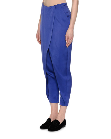 Satin Skirted Harem Pants, Royal Blue