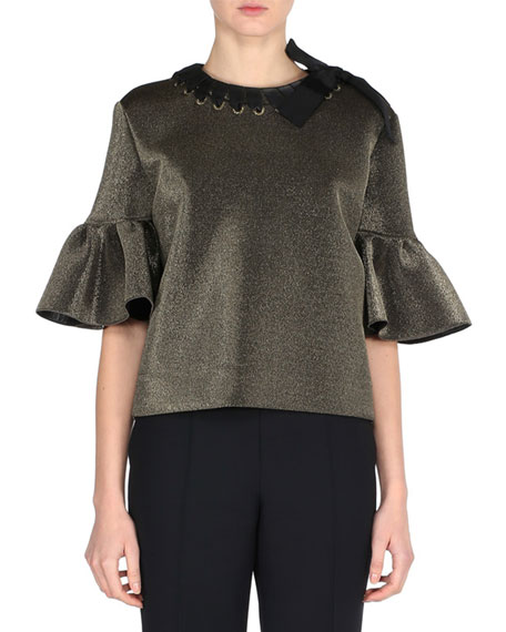 Fendi Metallic Ruffle-Sleeve Top with Ribbon Trim, Gold