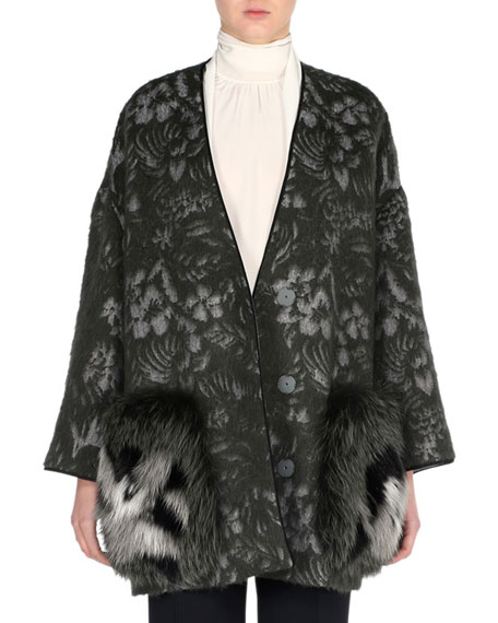 Fendi Floral-Print Swing Topper with Fox Fur Pockets,