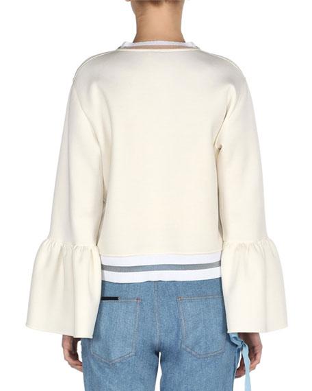 Bell-Sleeve Sweatshirt with Mink Flower Appliqués, White
