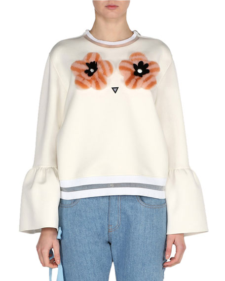 Fendi Bell-Sleeve Sweatshirt with Mink Flower Appliqués,