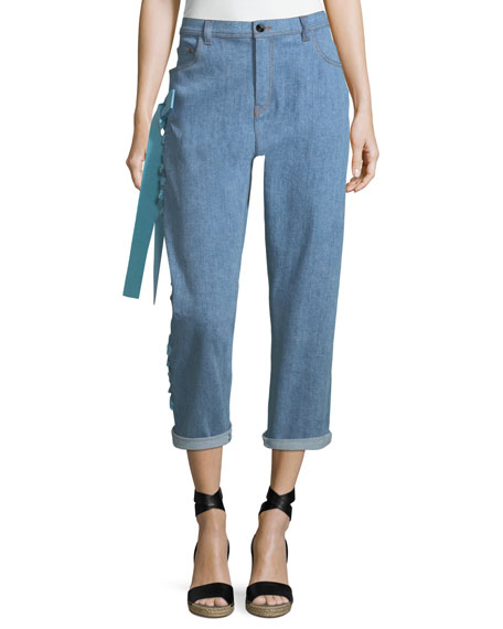Fendi Cropped Boyfriend Jeans with Lace-Up Sides, Blue