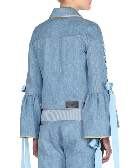 Denim Bell-Sleeve Jacket with Lace-Up Ribbons, Blue