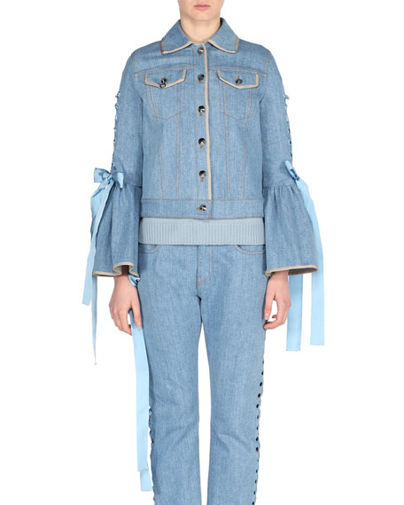 Fendi Denim Bell-Sleeve Jacket with Lace-Up Ribbons