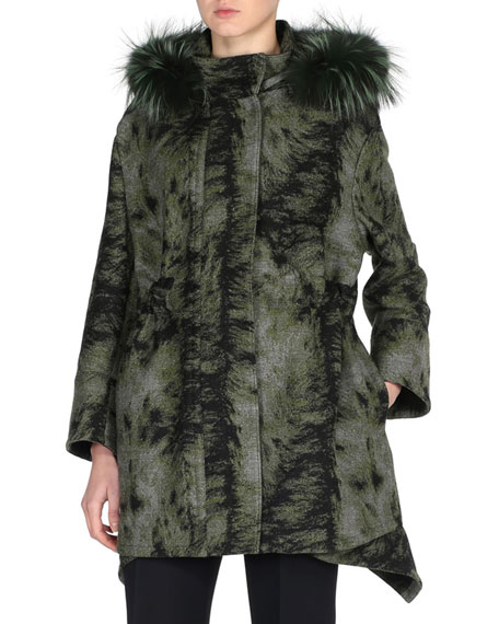 Fendi Fur-Print Parka with Fox Fur Hood, Black