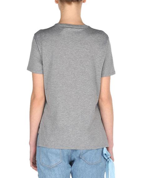 Monster Eyes Crewneck T-Shirt with Fox Fur