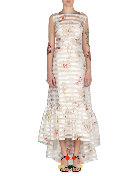 Striped Floral Long-Sleeve High-Low Gown, Multicolor